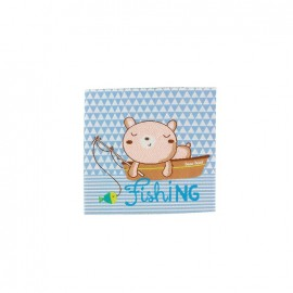 Happy Holidays Fishing iron-on applique - blue