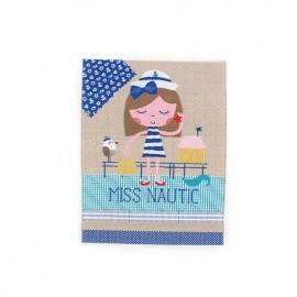Happy Holidays, Miss Nautic iron-on applique - beige