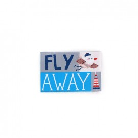 Happy Holidays, Fly Away iron-on applique - blue