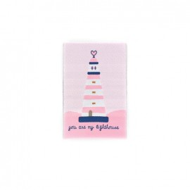 Happy Holidays, Lighthouse iron-on applique - pink