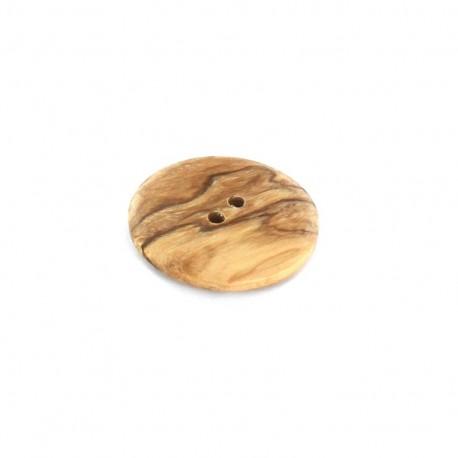 Wooden button, flat, oak tree - beige