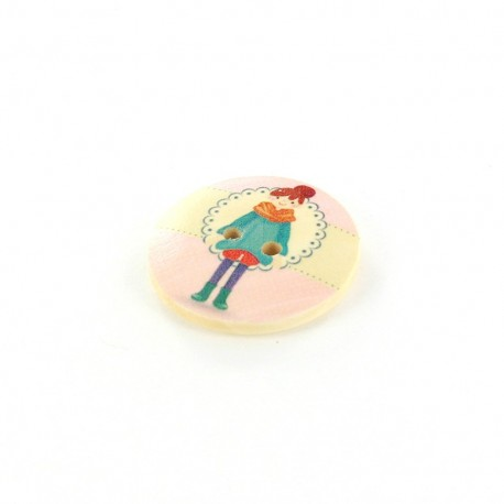 Wooden button Winter Girl, July - natural