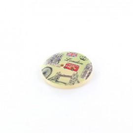 Wooden button London, Royal - natural