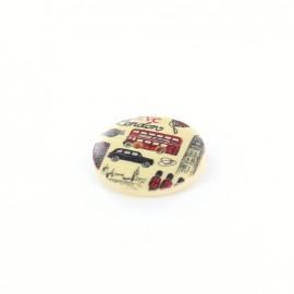 Wooden button London, Love - natural