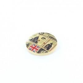 Wooden button London, Card - natural