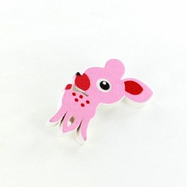 Wooden button, Little Fawn - pink