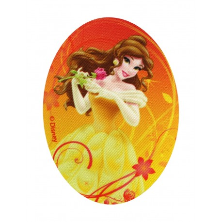 """Disney Princesses """"Belle and the beast's rose"""" canvas iron-on applique - yellow"""