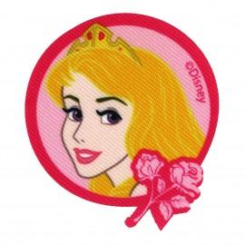 "Disney Princesses ""Aurora and flower"" badge canvas iron-on applique - fuchsia"