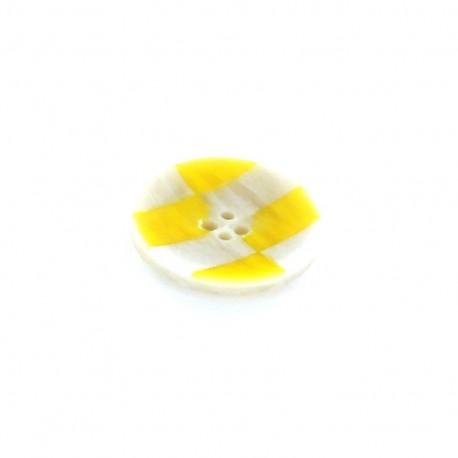 Horn Button, checkerboard - yellow