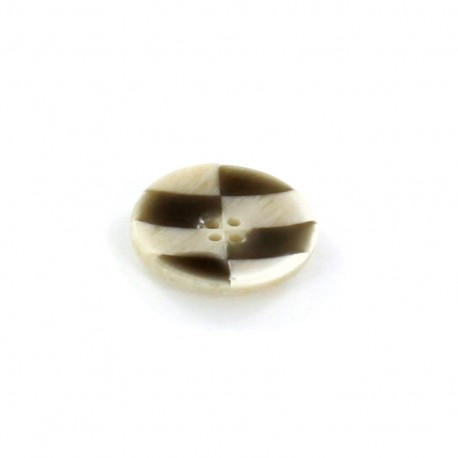 Horn Button, checkerboard - taupe