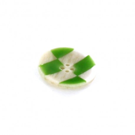 Horn Button, checkerboard - green