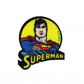 Canvas Superman portrait iron-on applique - blue