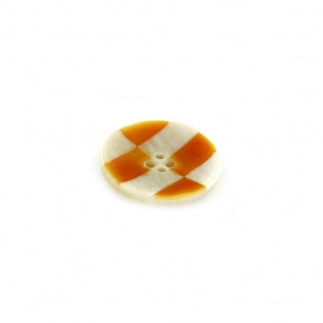 Horn Button, checkerboard - orange
