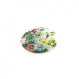 Polyester button Flower Field - green