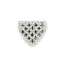 Diamond shoulder-pad iron-on applique - steel