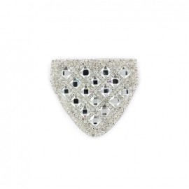 Diamond shoulder-pad iron-on applique - silver