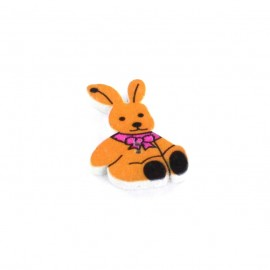 Bouton bois Rabbit orange