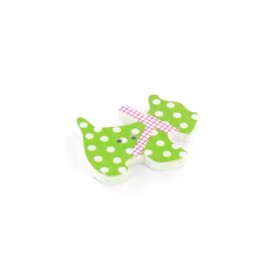 Wooden button, Spotty Dog - green