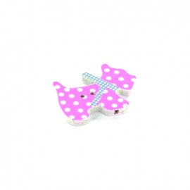 Wooden button, Spotty Dog - pink