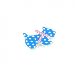 Wooden button, Spotty Dog - blue