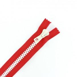 fermeture Eclair non séparable synthétique bicolore - rouge /blanc -