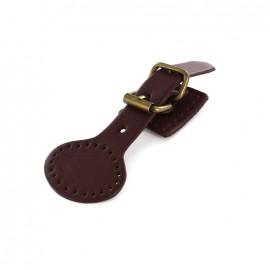 Genuine leather pin buckle Bracot - garnet red