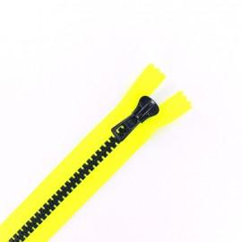 fermeture Eclair non séparable synthétique bicolore - jaune fluo /nuit -