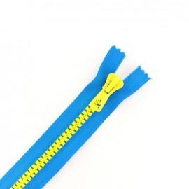 fermeture Eclair non séparable synthétique bicolore - bleu électrique /jaune -