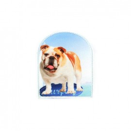 ♥ Sand Surfing dog iron-on applique - blue ♥