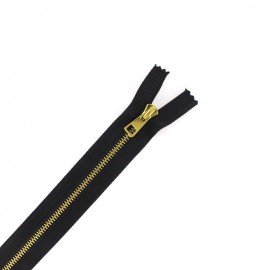 Fermeture Eclair-Plus® fine métal doré SEPARABLE noir - 6 mm