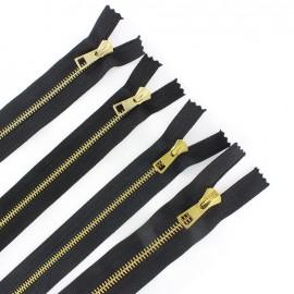 Fermeture Eclair-Plus® fine métal doré non séparable noir - 4 mm