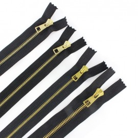 Metal golden thin Closed bottom zipper 4 mm - black