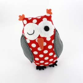 Owl pincushion Little white polka dots - red