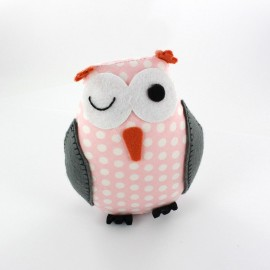 Owl pincushion Little white polka dots - pink