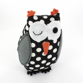 Owl pincushion Little white polka dots - black