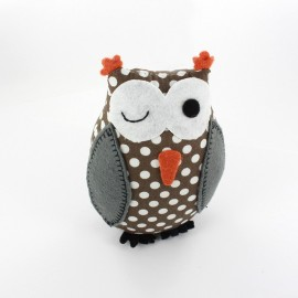 Owl pincushion Little white polka dots - brown