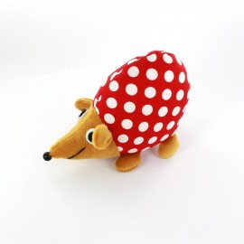 Raccoon pincushion Little white polka dots - red