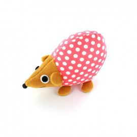 Raccoon pincushion Little white polka dots - pink