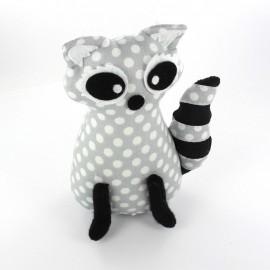 Raccoon pincushion Little white dots - light grey