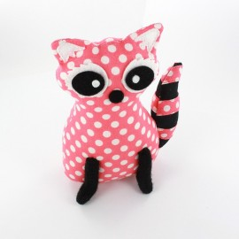 Raccoon pincushion Little white dots- pink