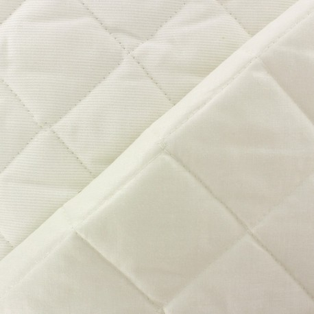 Baby Quilted Cotton Stitched Fabric - Cream x 10cm