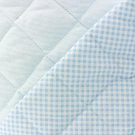 Tissu piqué de coton baby matelassé bleu clair x 10cm