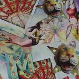 Tissu Popeline impression digitale Circus x 10cm