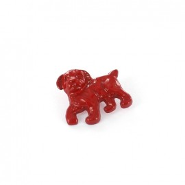 Metal varnished  button, Dog - red