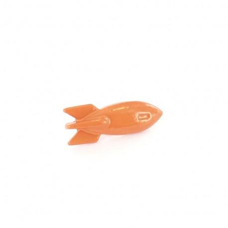 Bouton métal Petite fusée orange