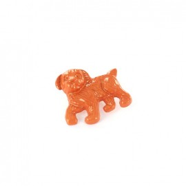 Metal varnished  button, Dog - orange