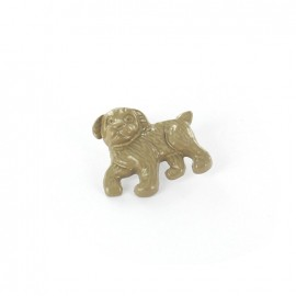 Metal varnished button, Dog - beige