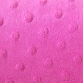 Soft relief minkee velvet Fabric - Fuchsia Dots x 10cm
