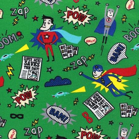 Tissu Jersey My super hero vert x 10cm
