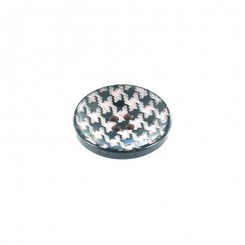Polyester button, hound's tooth cloth pattern - grey